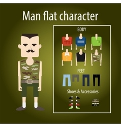 Adult severe soldier flat character vector