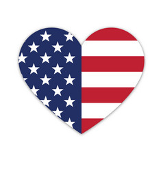 american flag in heart shape vector image