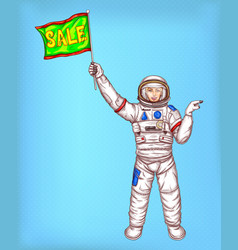 Astronaut girl in spacesuit with green flag vector