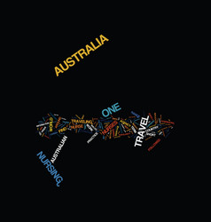 Australia travel for a nurse text background word vector