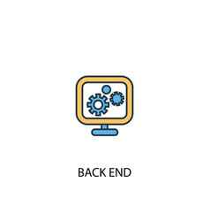 back end concept 2 colored line icon simple vector image