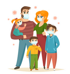 Big family wearing surgical mask coronavirus vector