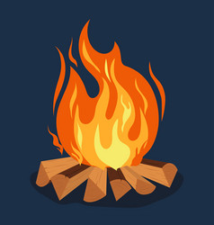 bonfire - camping burning woodpile campfire or vector image
