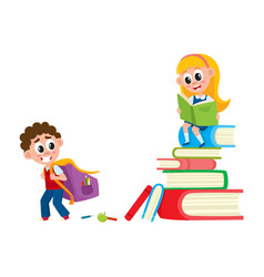 boy going to school girl sitting on book pile vector image