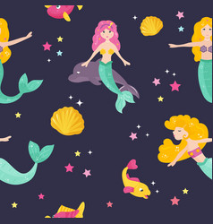 Bright pattern with cute mermaids and fishes vector