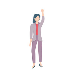 Business woman raising hand in fist up vector