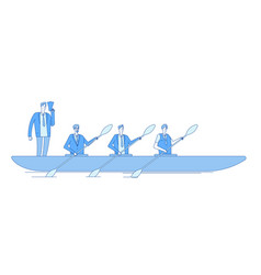 businessman in boat business captain leader vector image