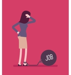 Businesswoman chained with a weight Job vector