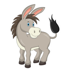 cartoon cute donkey isolated on white background vector image