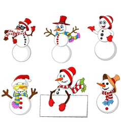 cartoon snowman collection vector image