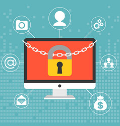 Chain and lock on computer screen vector