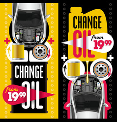 Change oil two banners vector