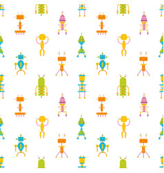 Childish seamless pattern with cute smiling robots vector