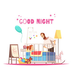 Children room sleep time composition vector