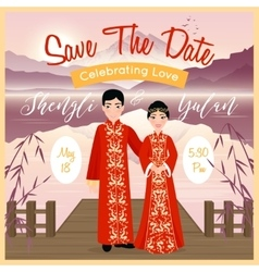 Chinese wedding couple poster vector