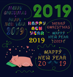 Christmas new year 2019 set vector