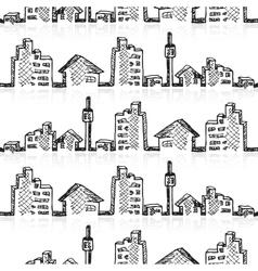 Cityscape sketch seamless vector image