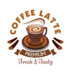 Coffee Latte label Premium fresh and tasty vector