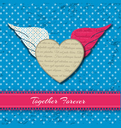 colored winged heart composition vector image