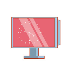 computer monitor with clock in display vector image