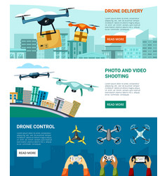 Control and use drones horizontal banner fast vector