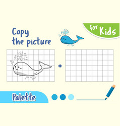 copy picture and color it draw an whale vector image