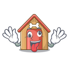 crazy mascot dog house of wood home vector image