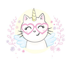 Cute image a lying cat with a horn unicorn it vector