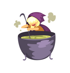cute little witch character preparing a potion in vector image