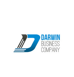 darwin business company letter d icon vector image