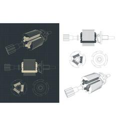 Dc motor rotor drawings vector