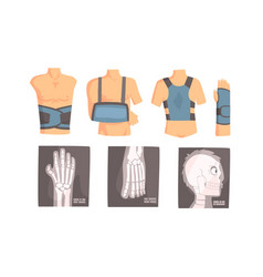 different types bandage and xrays set of vector image