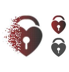 Disintegrating dotted halftone love heart lock vector