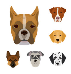 Dog breeds cartoon icons in set collection for vector