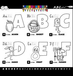 Educational cartoon alphabet letters set from vector
