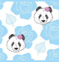 endless background with heads of panda and flowers vector image