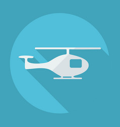 flat modern design with shadow helicopter vector image