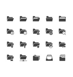 folders flat glyph icons set file catalog vector image