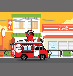 Food truck selling japanese takoyaki fsnack on vector