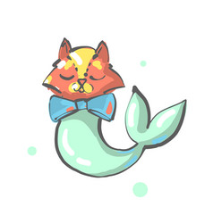 fox with mermaid or fish tail fantasy animal vector image
