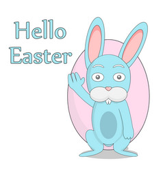 friendly rabbit on the background of easter eggs vector image