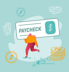 Girl carry huge paycheck with dollar sign vector