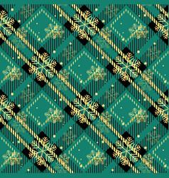 golden snowflakes green tartan fabric texture vector image