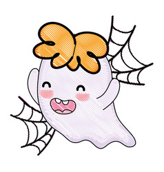 Grated happy ghost character and spiderweb style vector