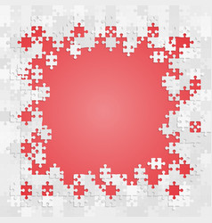 Grey puzzle on red background banner frame vector