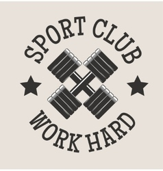 Gym fitness symbols badge vector