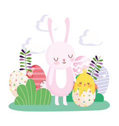 happy easter rabbit and chicken in eggshell eggs vector image