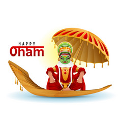 Happy onam greeting card hindu festival of kerala vector