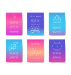 Hipster cards with geometric shapes vector