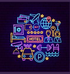 hotel neon concept vector image
